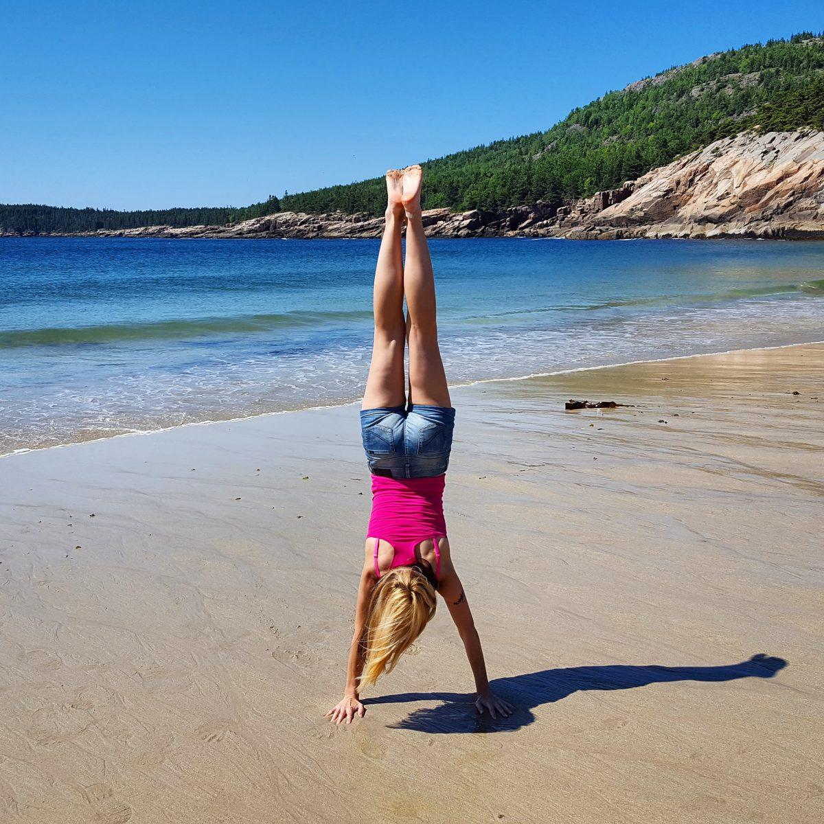 Sand Beach Acadia handstand